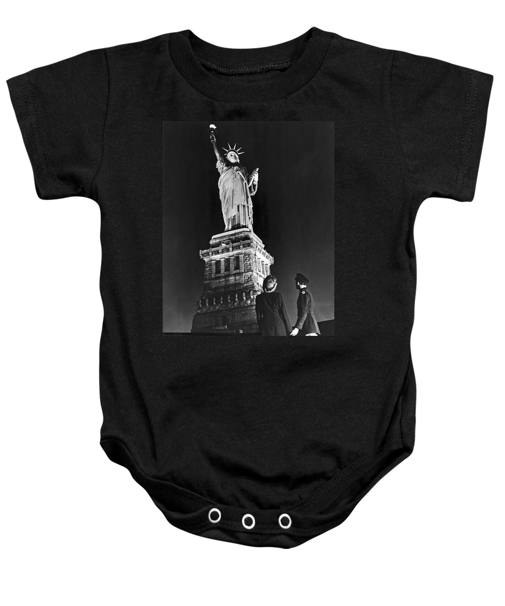 1945 Baby Onesie featuring the photograph Statue Of Liberty On V-e Day by Underwood Archives