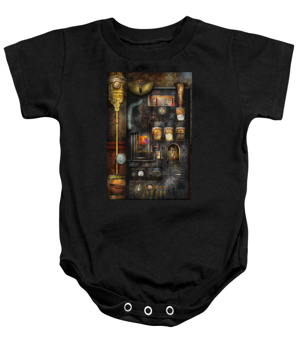 Steampunk Baby Onesie featuring the digital art Steampunk - All That For A Cup Of Coffee by Mike Savad
