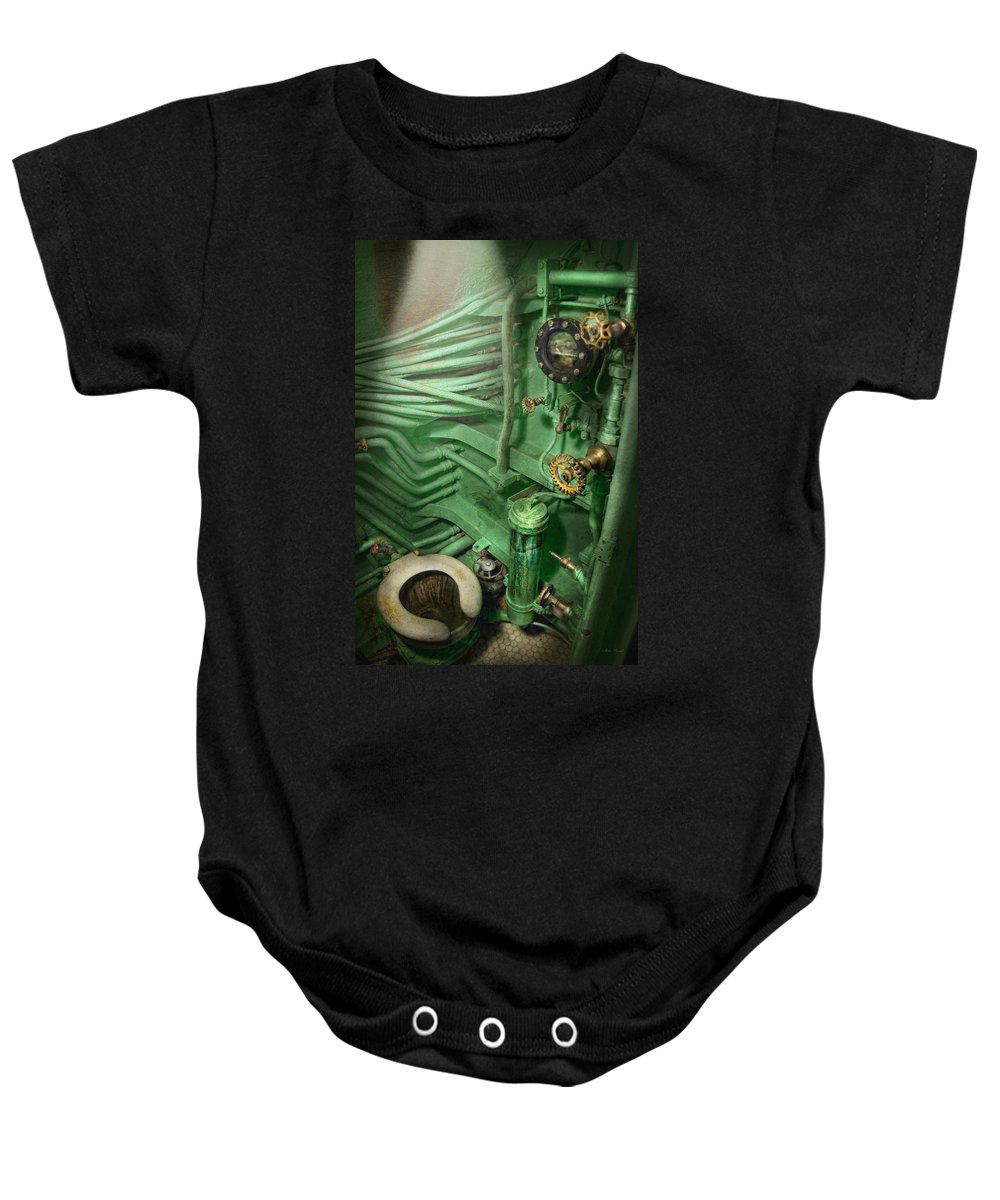 Steampunk Baby Onesie featuring the photograph Steampunk - Naval - Plumbing - The Head by Mike Savad