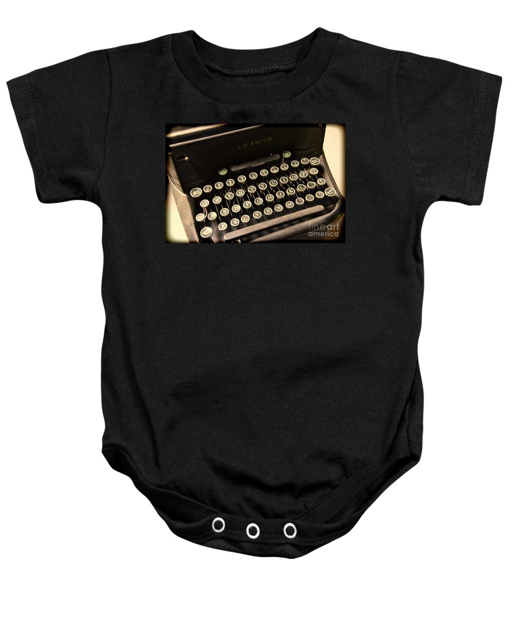 Steampunk Baby Onesie featuring the photograph Steampunk - Typewriter - The Age Of Industry by Paul Ward