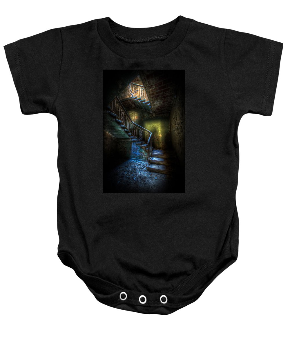 Horror Baby Onesie featuring the digital art Step Into The Light by Nathan Wright