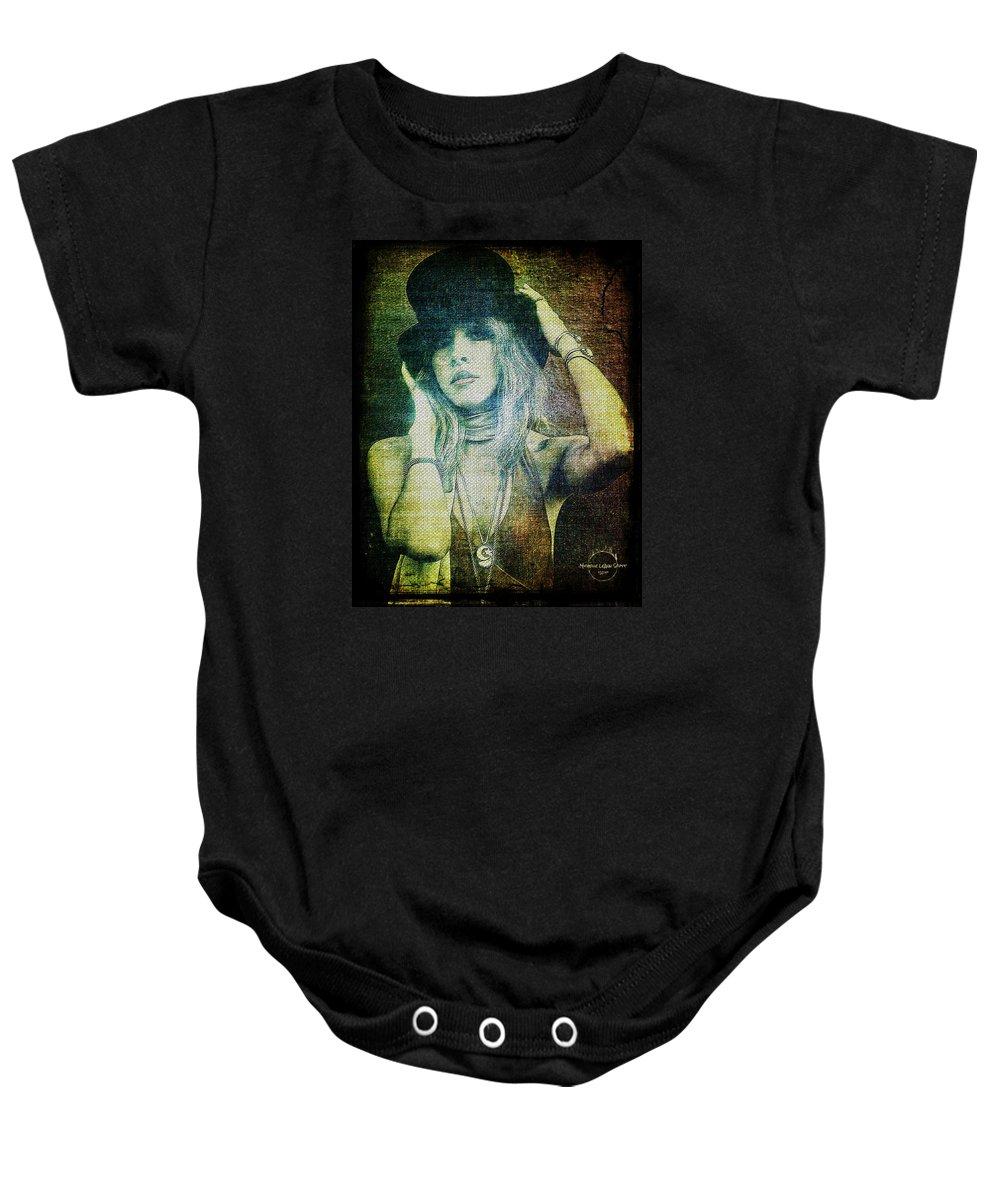 Stevie Nicks Baby Onesie featuring the digital art Stevie Nicks - Bohemian by Absinthe Art By Michelle LeAnn Scott