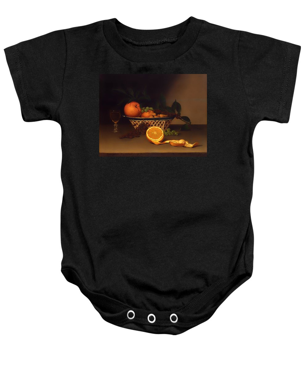 Painting Baby Onesie featuring the painting Still Life With Oranges by Mountain Dreams