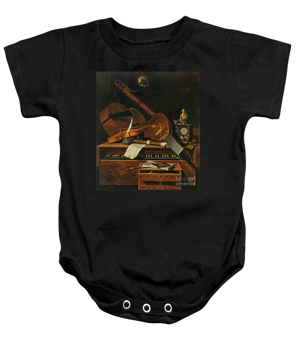 Violin Baby Onesie featuring the painting Still Life With Musical Instruments by Pieter Gerritsz van Roestraten