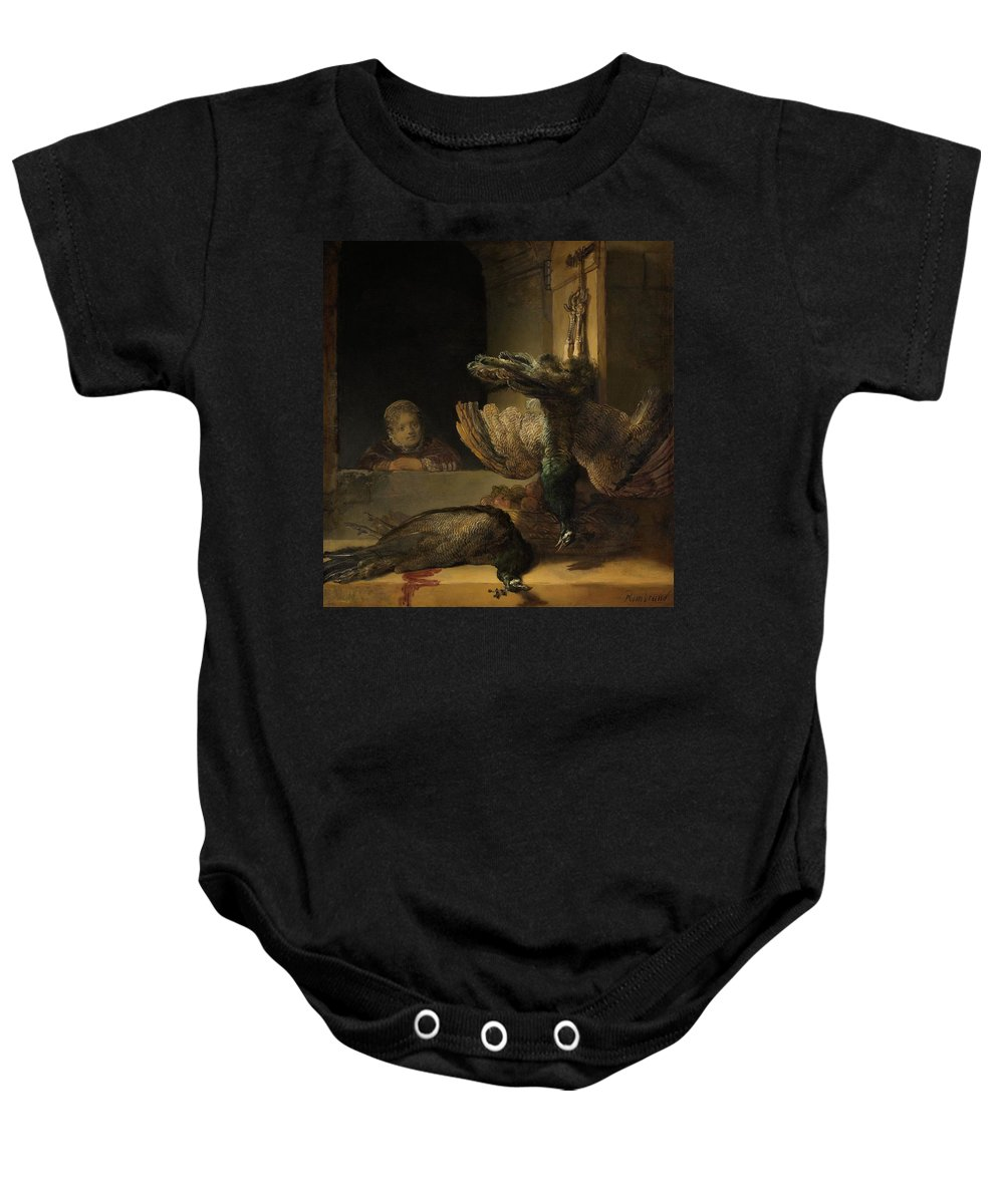 1639 Baby Onesie featuring the painting Still Life With Peacocks by Rembrandt van Rijn
