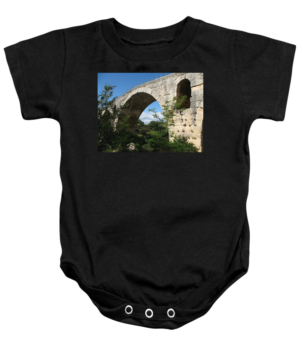 Roman Stonebridge Baby Onesie featuring the photograph Stone Arch Of Pont St. Julien by Christiane Schulze Art And Photography