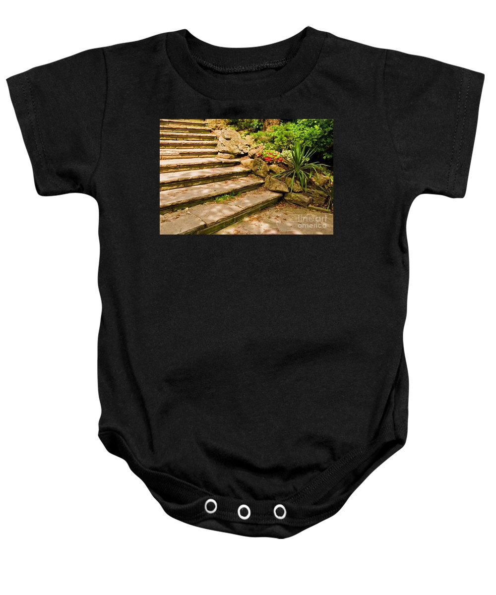 Stairs Baby Onesie featuring the photograph Stone Stairs by Les Palenik