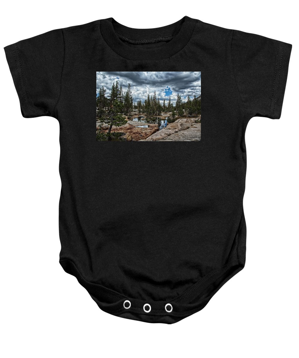 John Muir Trail Baby Onesie featuring the photograph Stormy Skies by Shauna Milton
