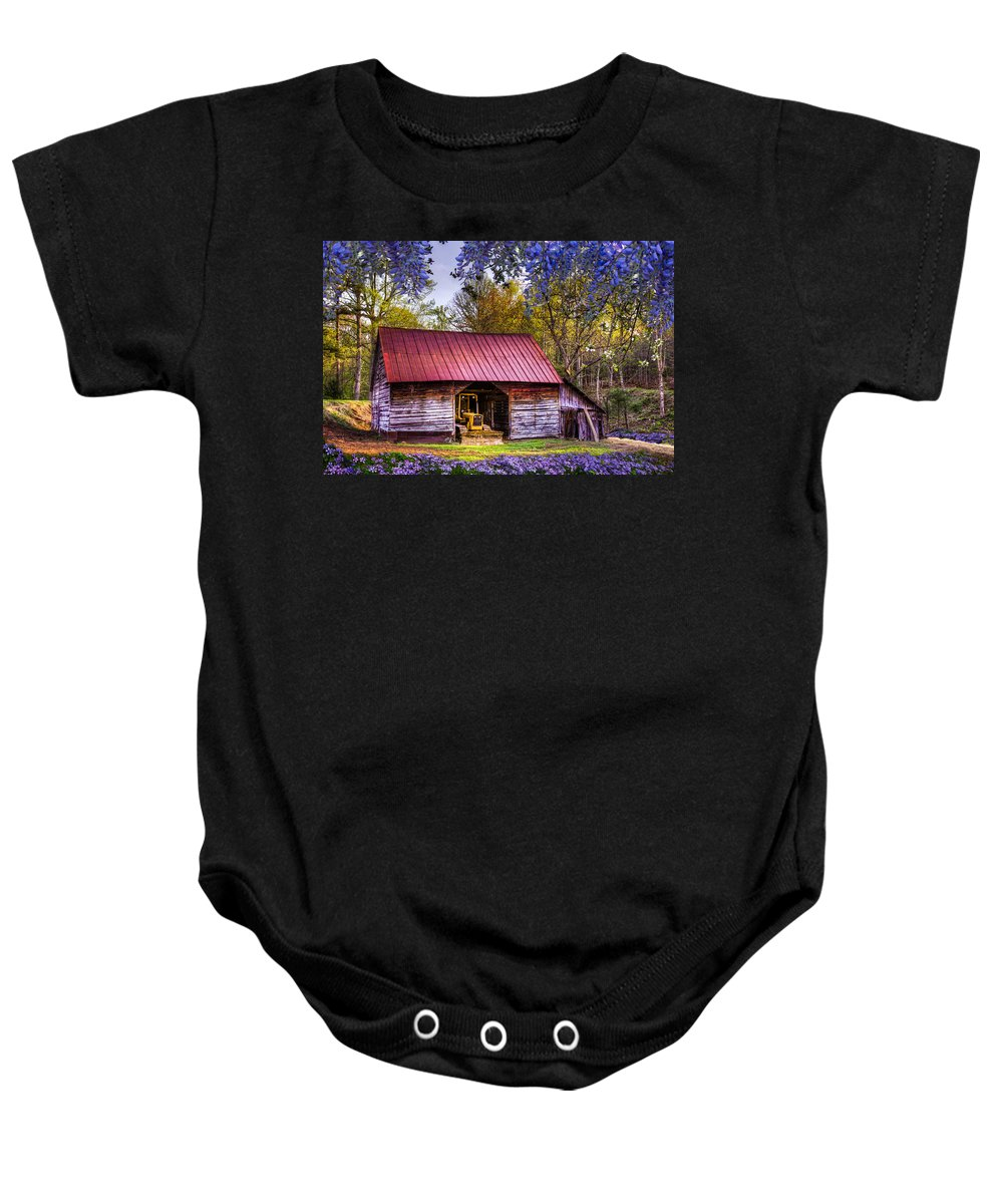 Appalachia Baby Onesie featuring the photograph Storybook Farms by Debra and Dave Vanderlaan