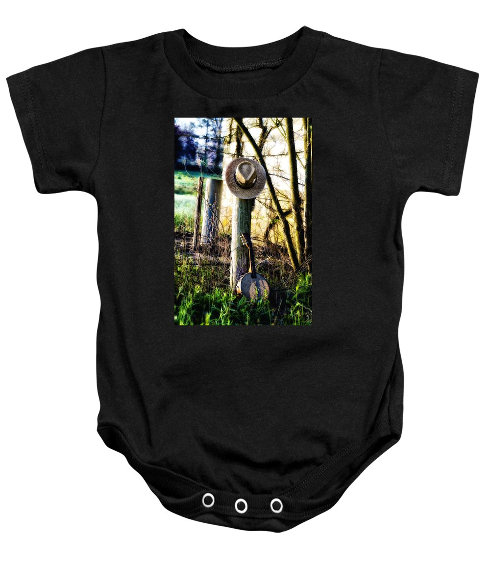 Straw Baby Onesie featuring the photograph Straw Hat And Banjo Mandolin by Bill Cannon