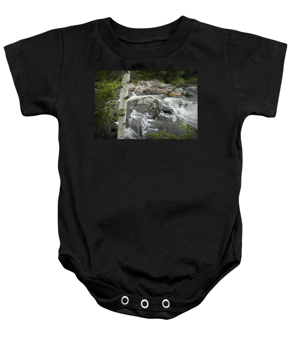 Art Baby Onesie featuring the photograph Stream With Waterfall In Vermont by Randall Nyhof