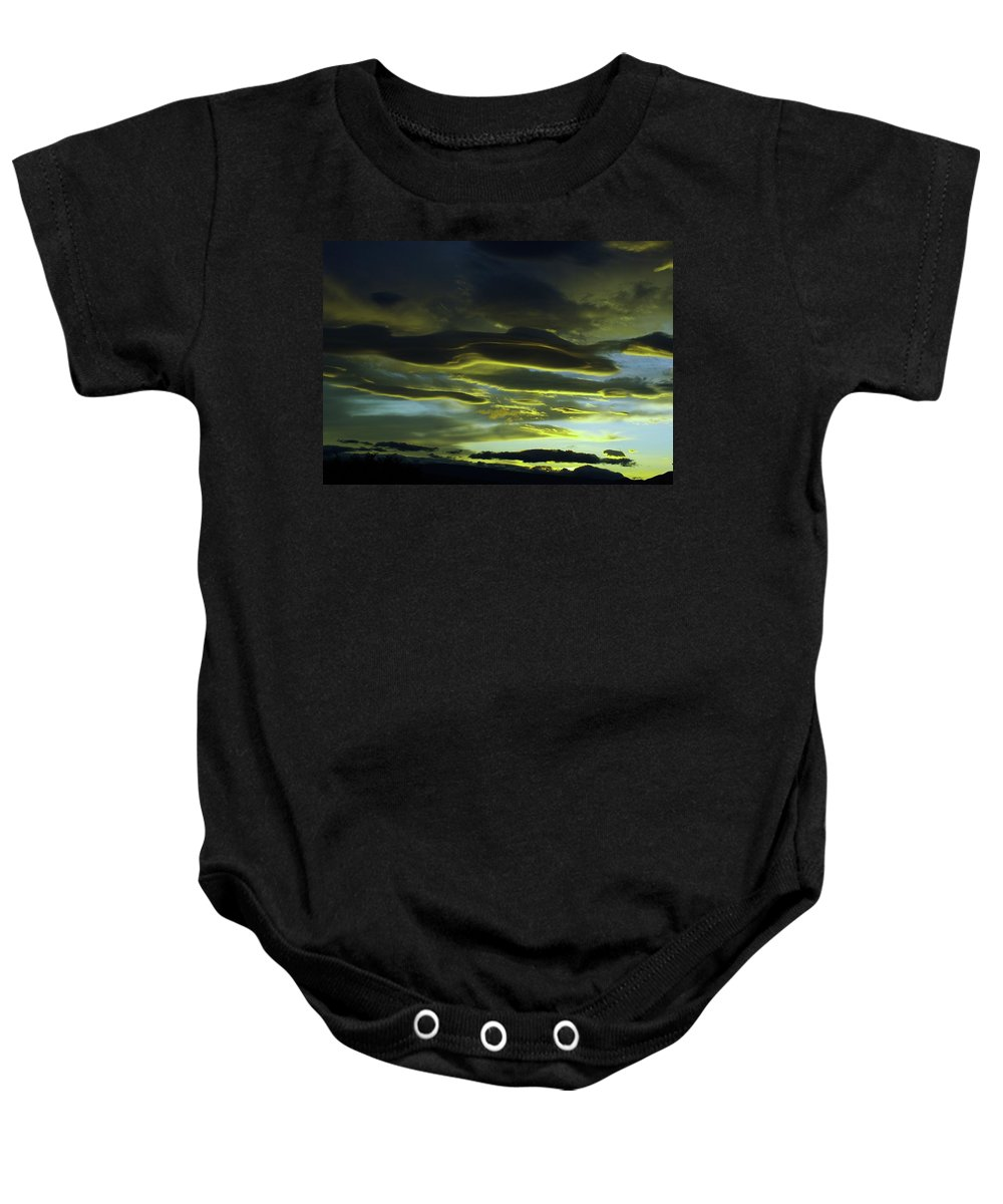 Clouds Baby Onesie featuring the photograph Streaming Clouds by Jeff Swan