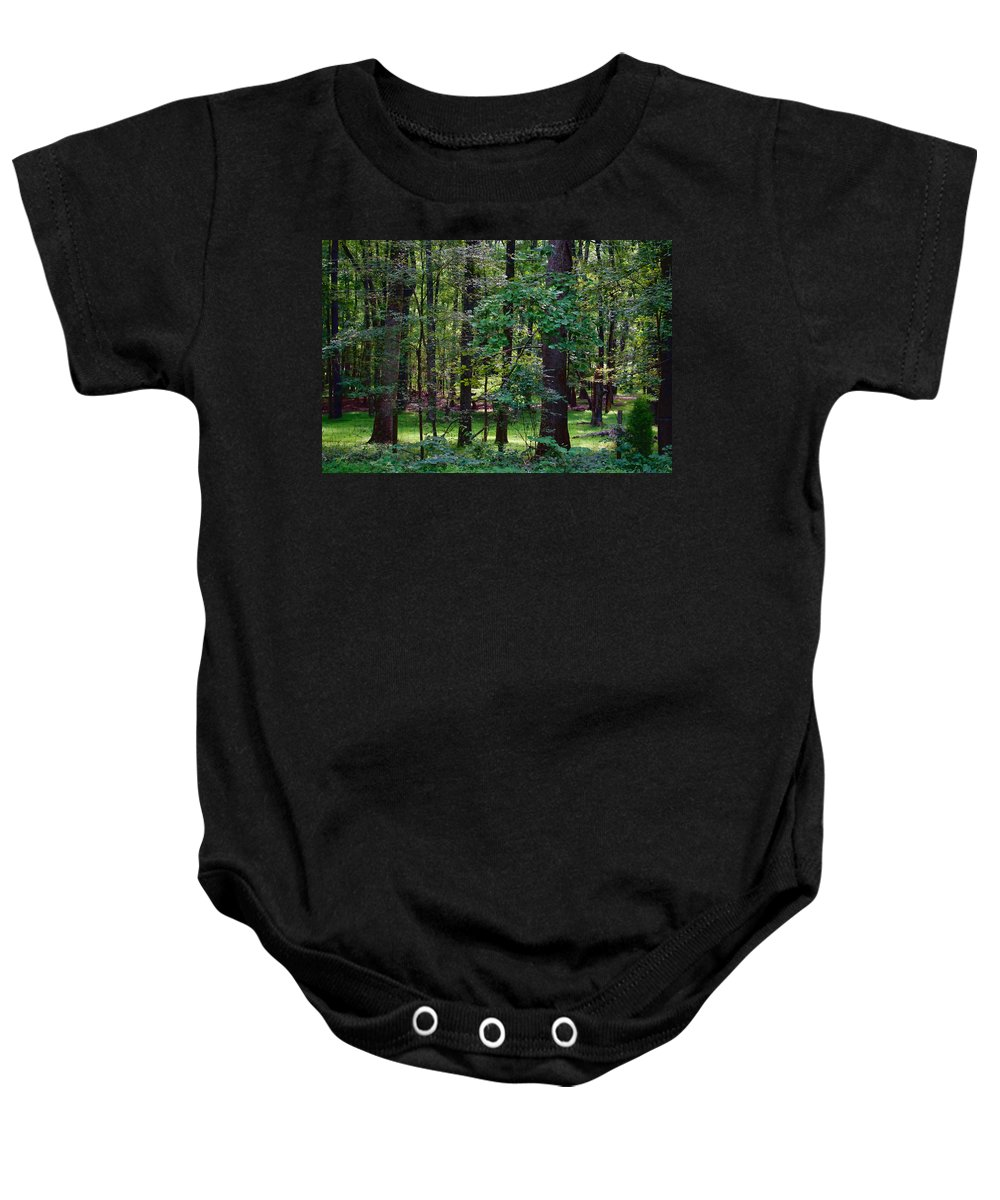 Nature Baby Onesie featuring the photograph Summer Forest by Paulette B Wright