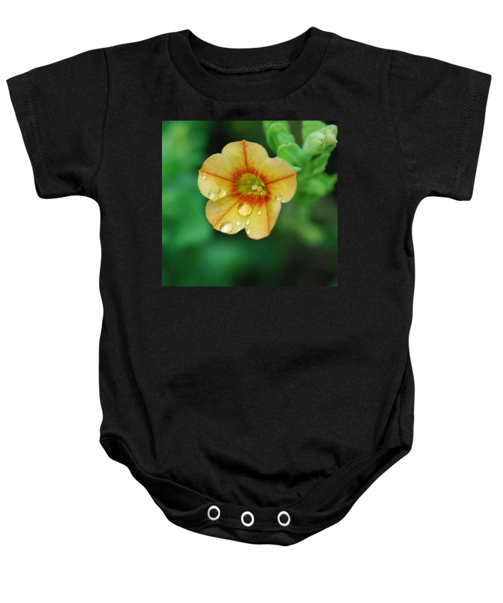 Orange Flower Baby Onesie featuring the photograph Summer Mini Bell by Amy Porter