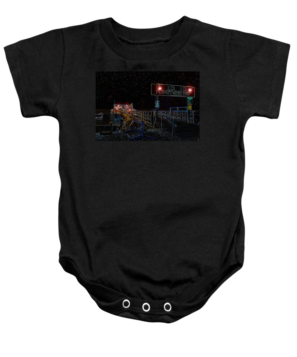 Rod And Reel Pier Anna Maria Island Florida Baby Onesie featuring the painting Summer Night At The Pier by David Lee Thompson
