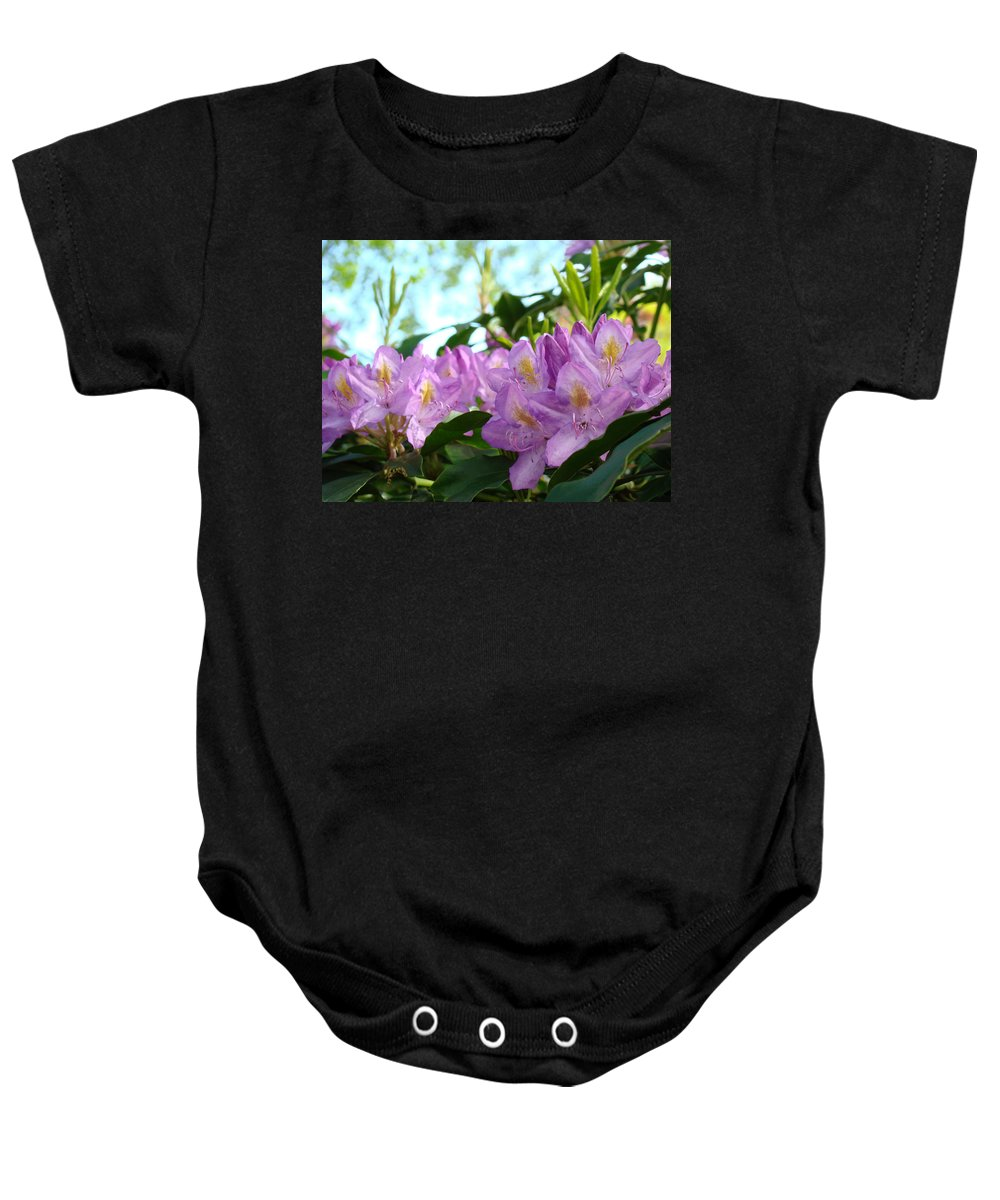 Rhodies Baby Onesie featuring the photograph Summer Rhodies Flowers Purple Floral Art Prints by Baslee Troutman