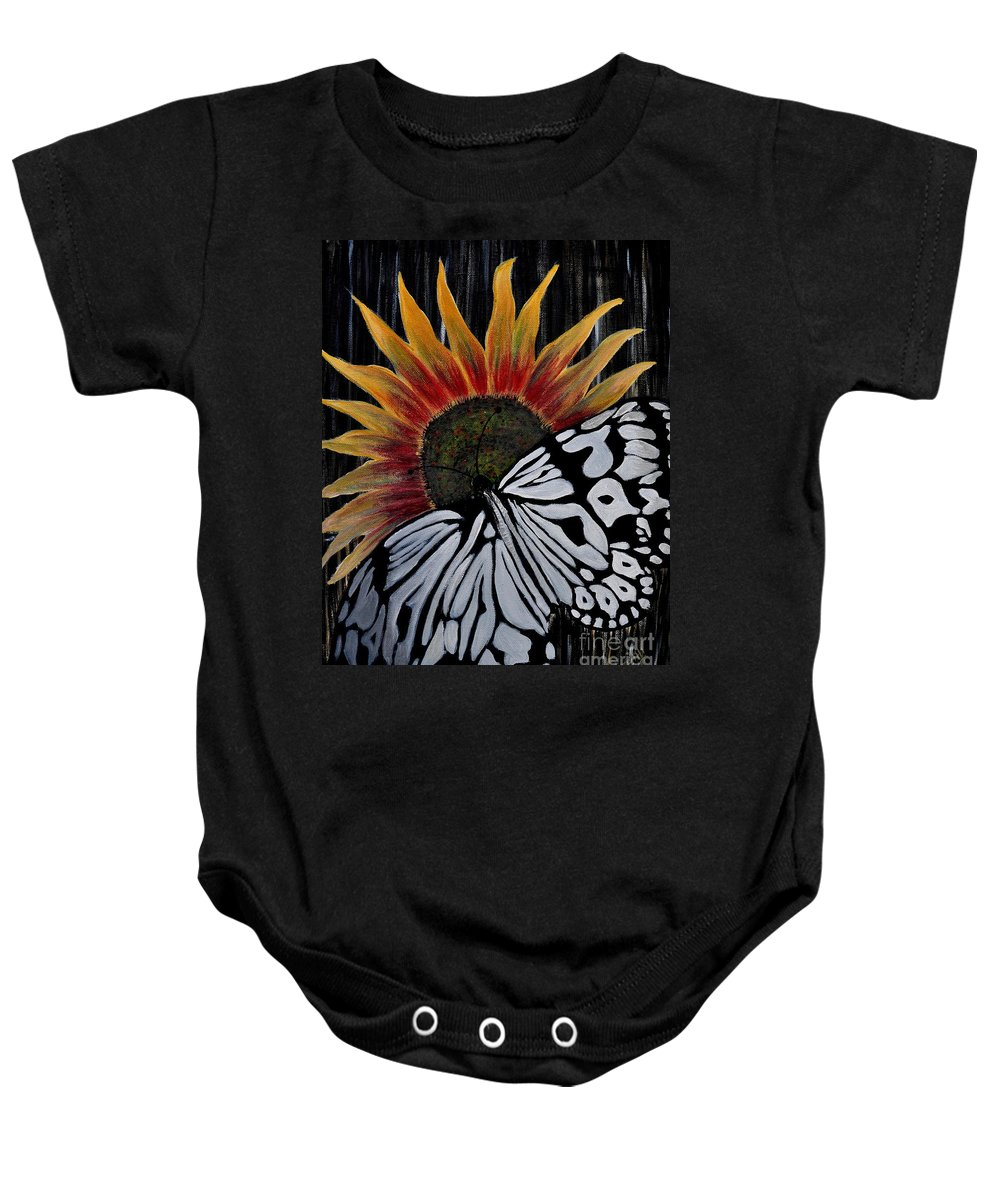 Butterfly Baby Onesie featuring the painting Sun-fly by Preethi Mathialagan