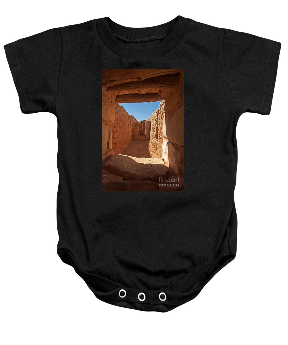 Afternoon Baby Onesie featuring the photograph Sun Temple Mesa Verde National Park by Fred Stearns