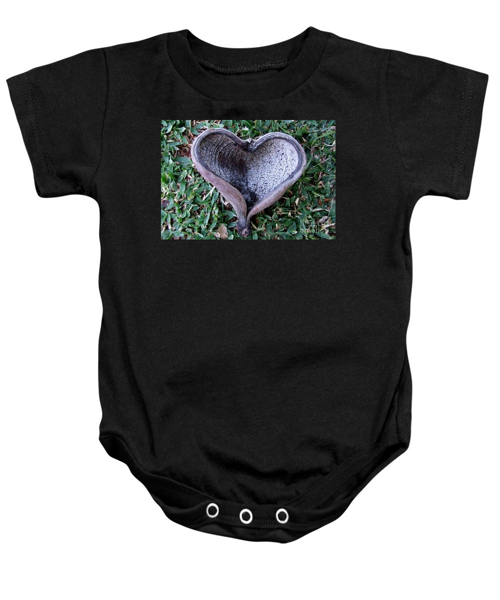 Sunburned Heart Baby Onesie featuring the photograph Sunburned Heart by Mary Deal