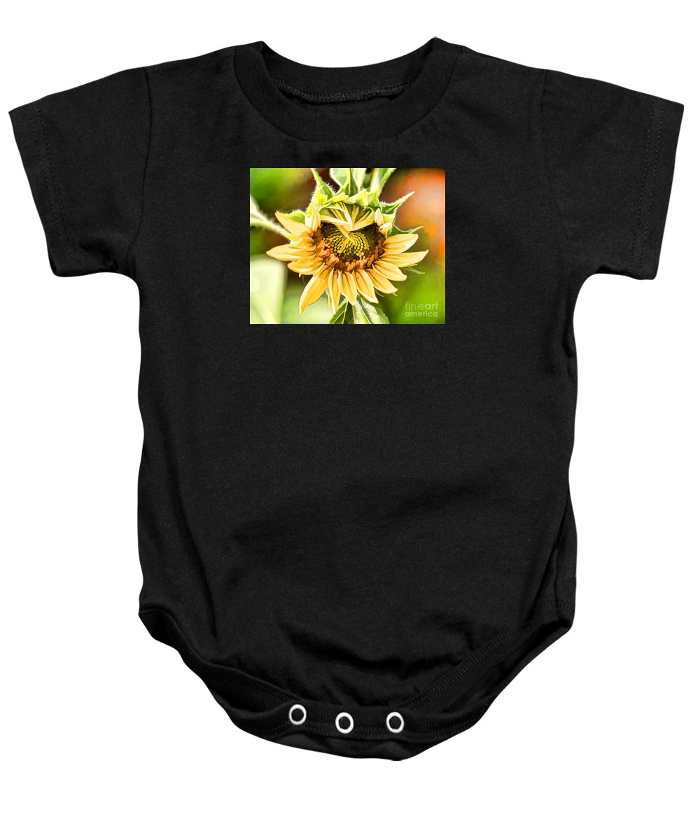 Flowers Baby Onesie featuring the photograph Sunflower Beauty - Painterly by TN Fairey