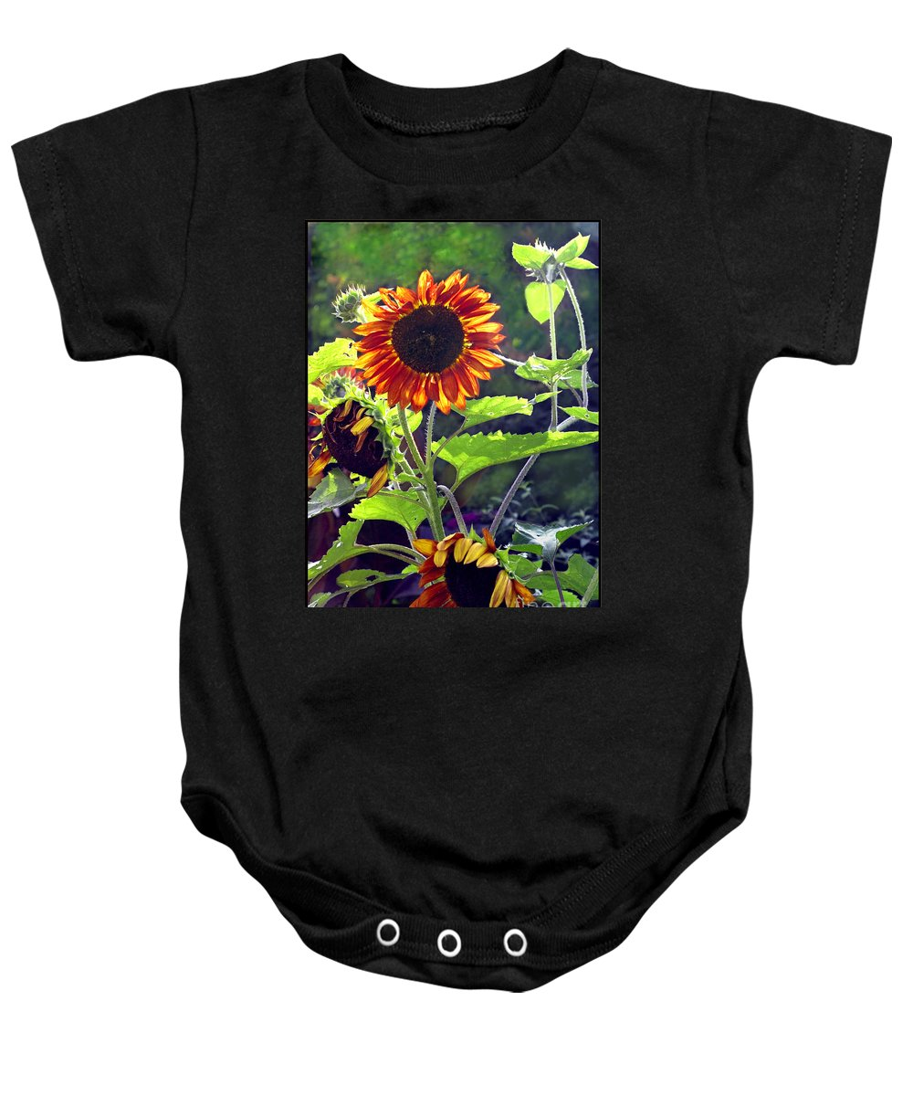 Nature Baby Onesie featuring the photograph Sunflowers In The Park by Madeline Ellis