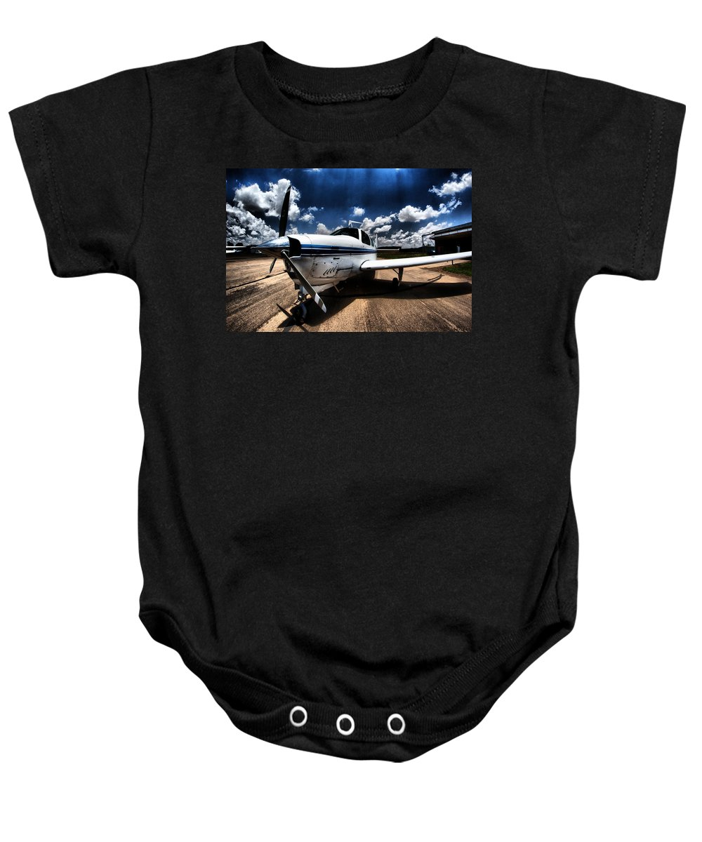 Aircraft Baby Onesie featuring the photograph Sunlight by Paul Job