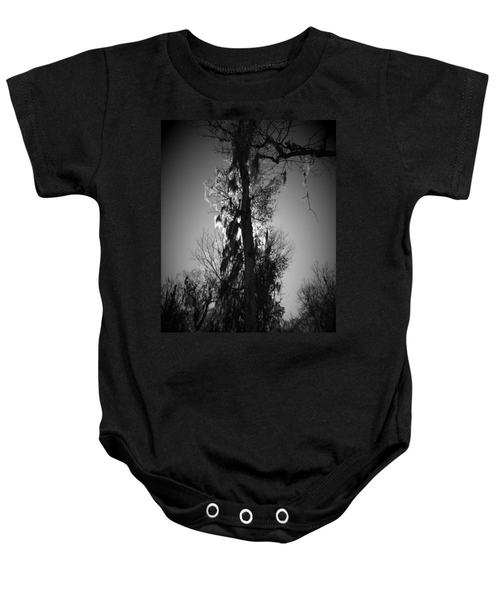 Black Baby Onesie featuring the photograph Sunlit Moss by Phil Penne