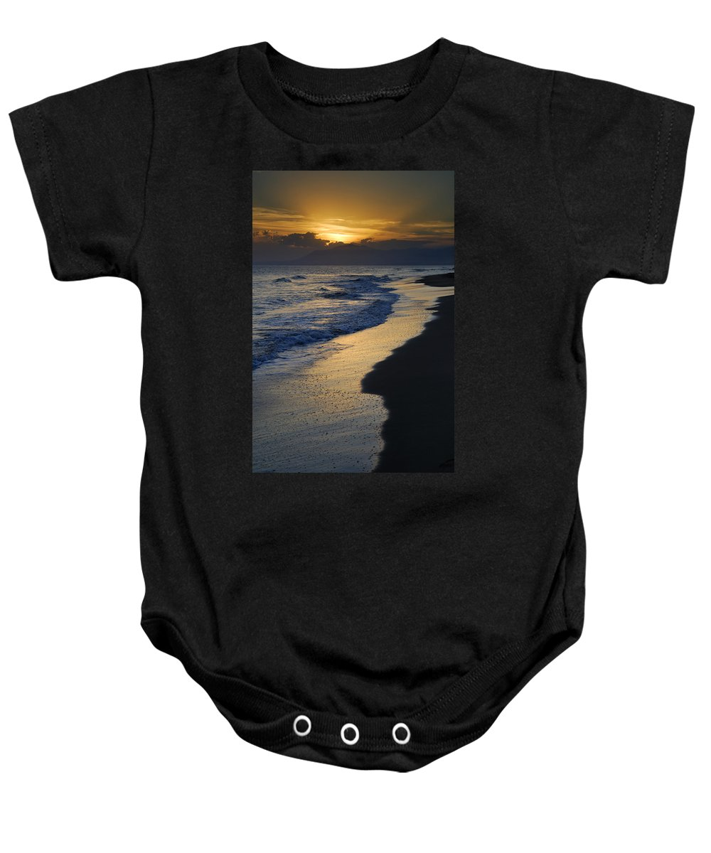 Seacape Baby Onesie featuring the photograph Sunrays Over The Sea by Guido Montanes Castillo