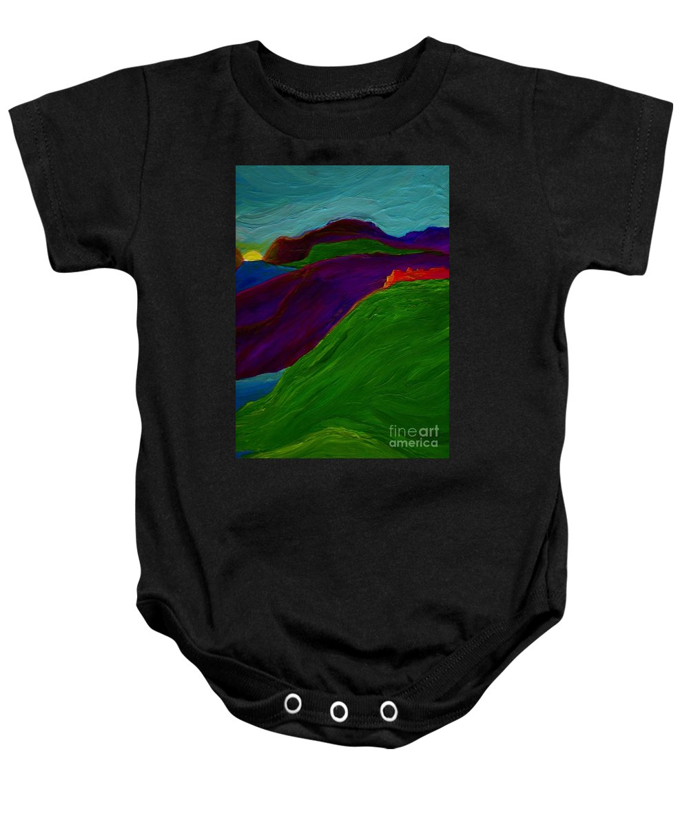 Castle Baby Onesie featuring the painting Sunrise Castle By Jrr by First Star Art