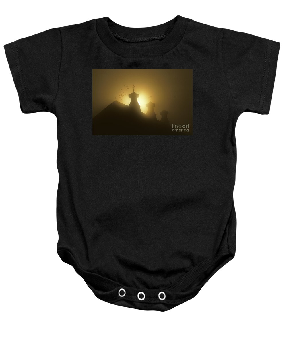 Agriculture Baby Onesie featuring the photograph Sunrise In Fog With Old Barn And Steeples With Weather Vanes by Jim Corwin