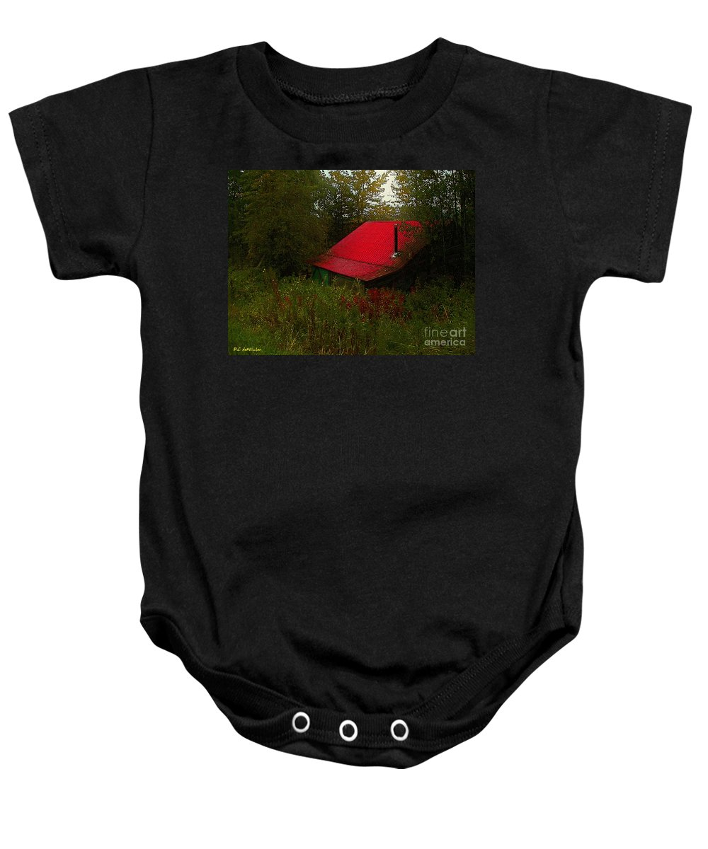 Americana Baby Onesie featuring the painting Sunrise In The Hollow by RC DeWinter