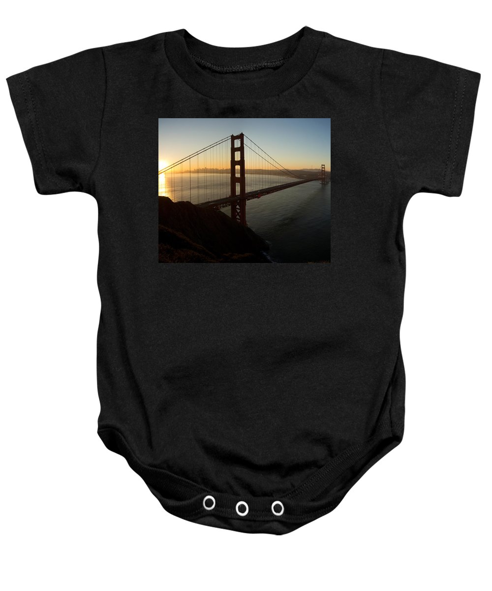 Sunrise Baby Onesie featuring the photograph Sunrise Over Golden Gate Bridge And San Francisco Bay by Jit Lim