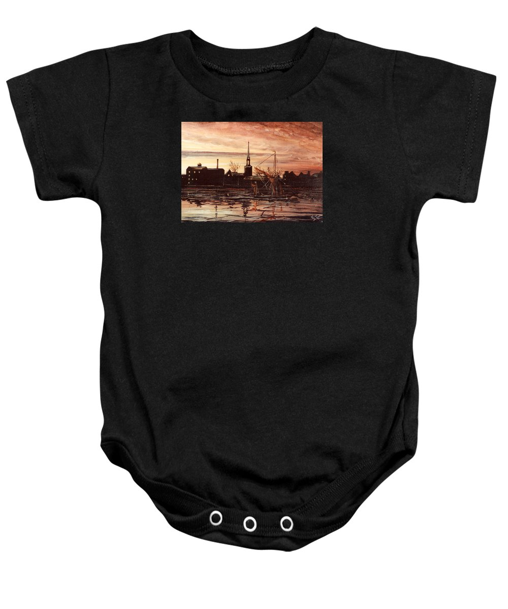 Rotherhithe Baby Onesie featuring the painting Sunrise Over St Marys Church And Rotherhithe London by Mackenzie Moulton