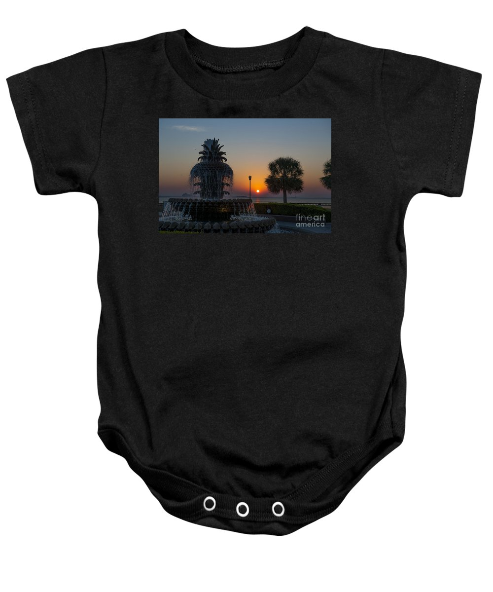 Pineapple Fountain Baby Onesie featuring the photograph Lowcountry Pineapple by Dale Powell