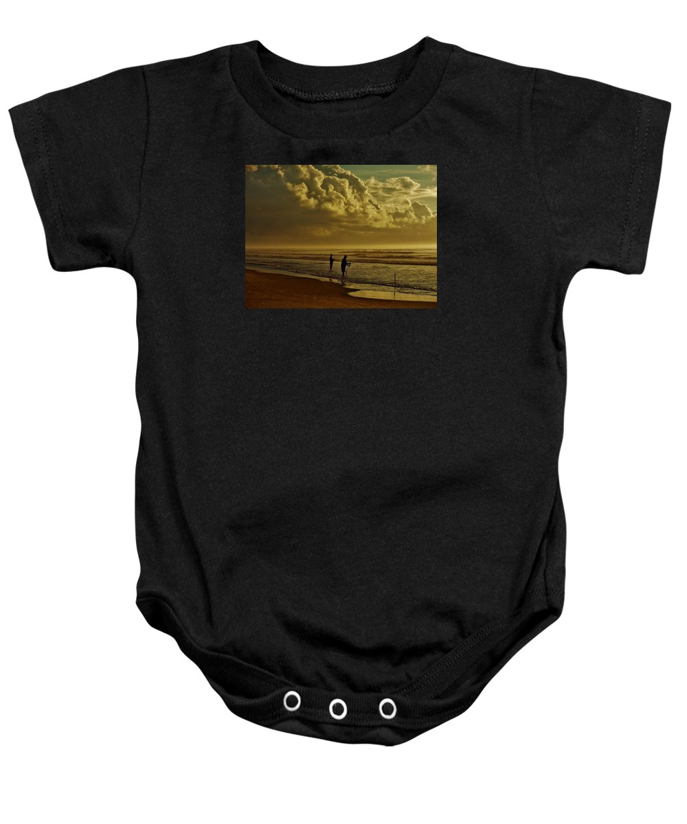 Fishing Baby Onesie featuring the photograph Sunrise Surf Fishing by Ed Sweeney