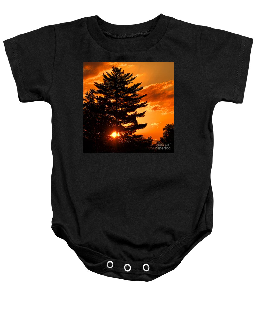 Sun Baby Onesie featuring the photograph Sunset And Pine Tree by Olivier Le Queinec