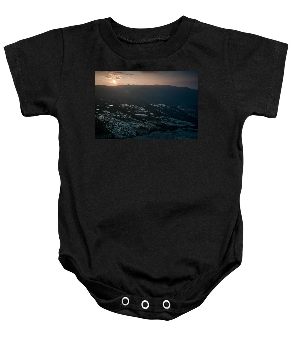 Agriculture Baby Onesie featuring the photograph Sunset And Rice Terrace by Kim Pin Tan
