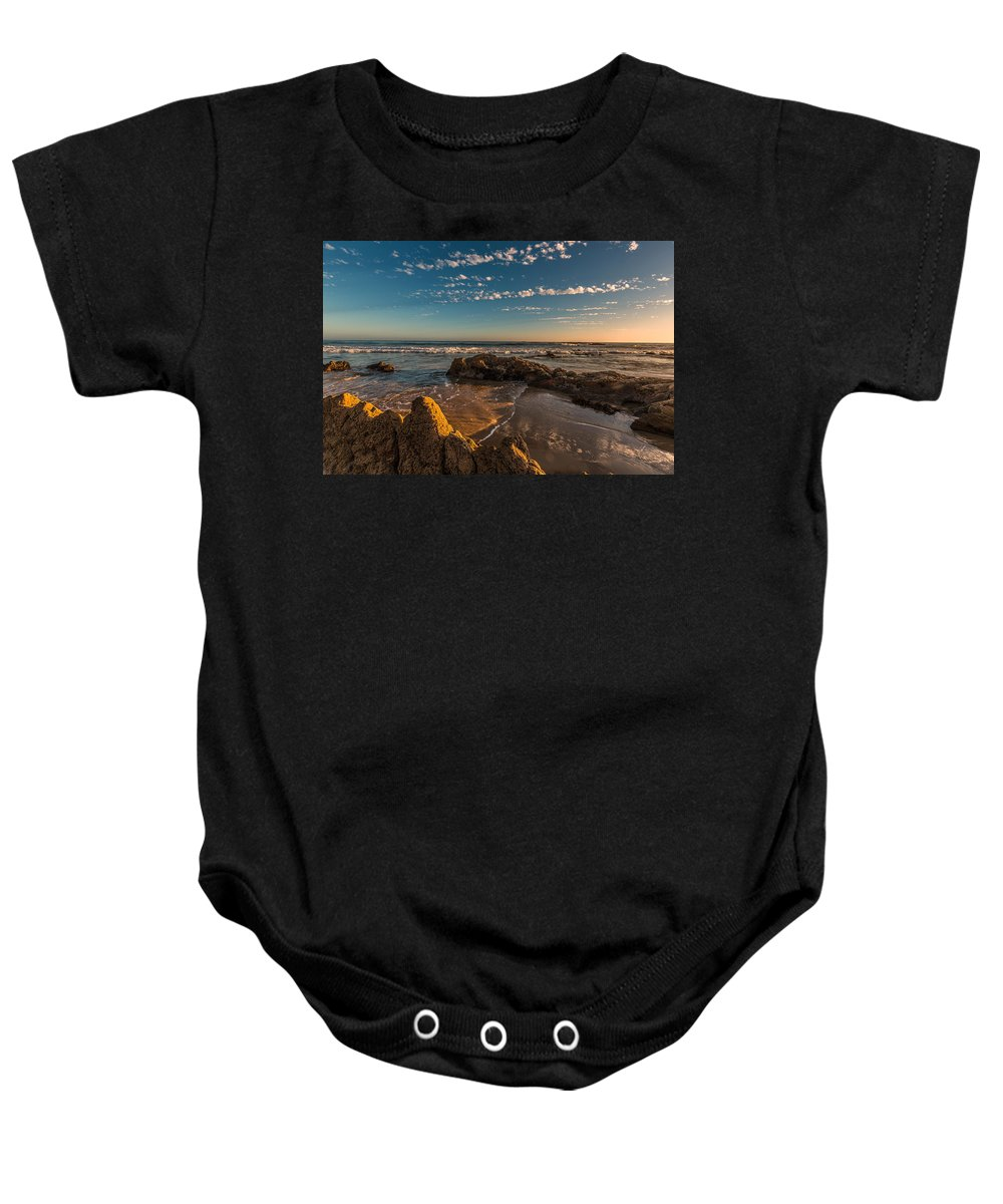 Crystal Cove Baby Onesie featuring the photograph Sunset At Crystal Cove 12 by Angela Stanton