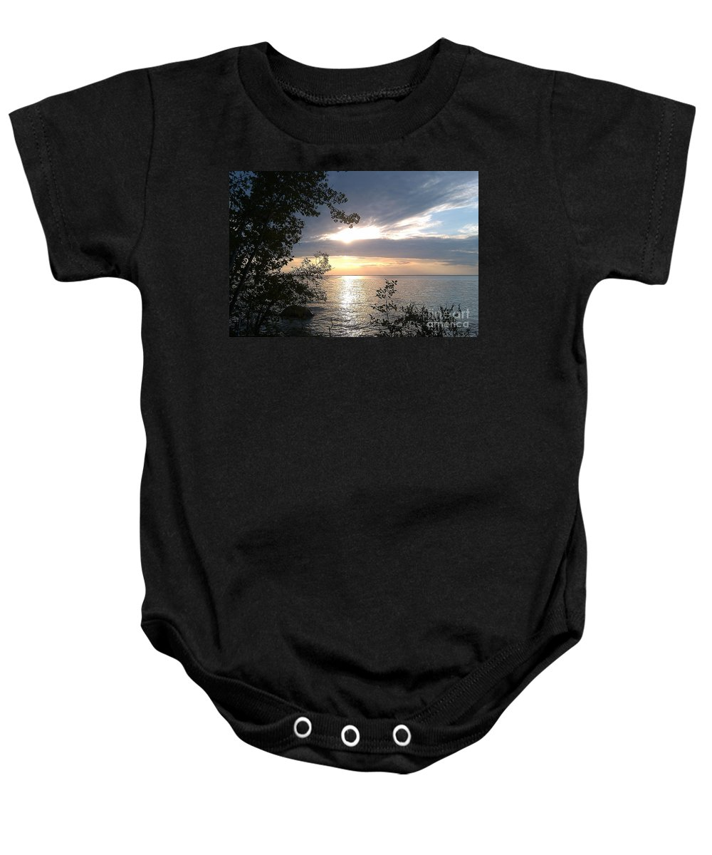 Water Baby Onesie featuring the photograph Sunset At Lake Winnipeg by Mary Mikawoz