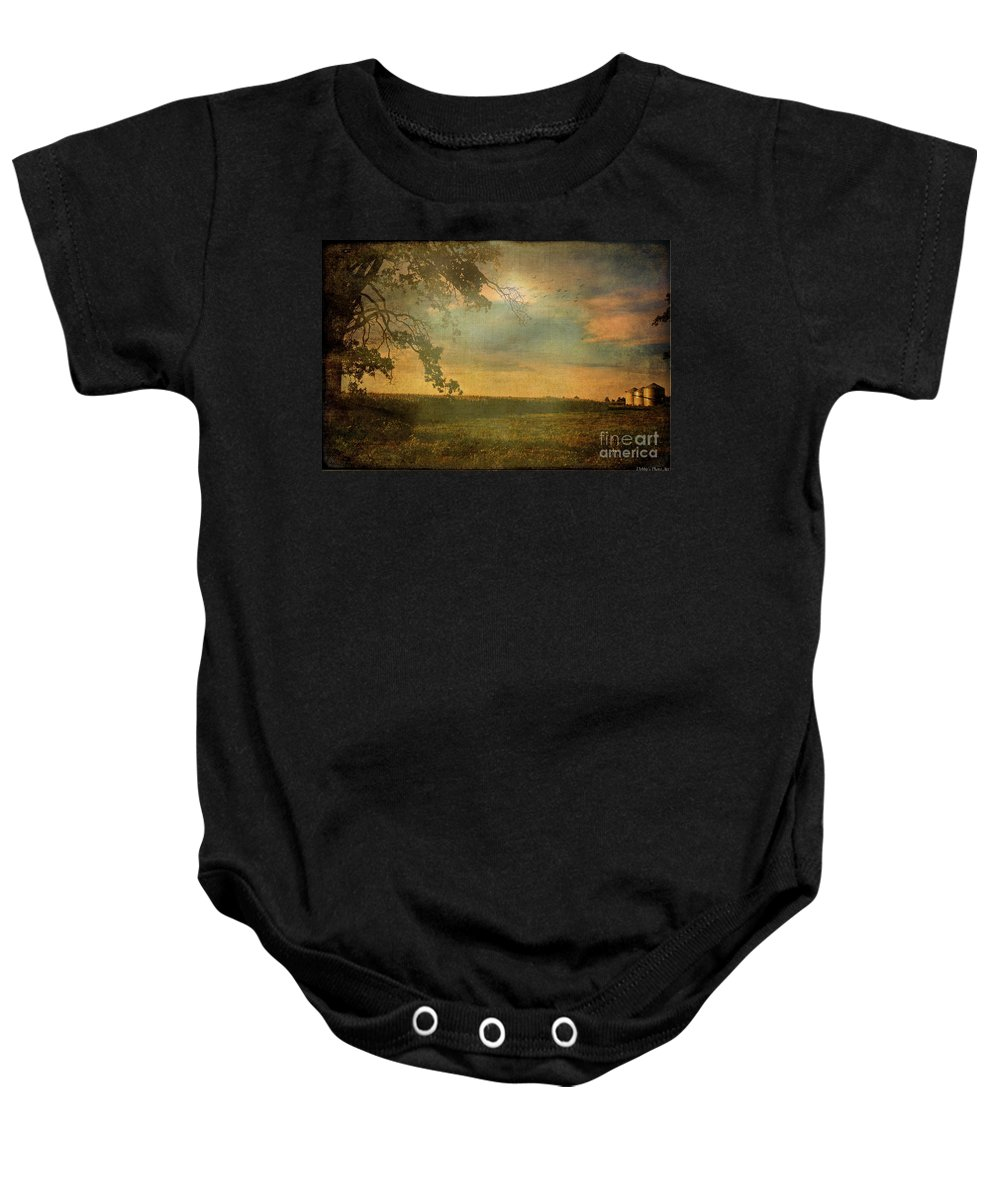 Nature Baby Onesie featuring the photograph Sunset Farmland by Debbie Portwood
