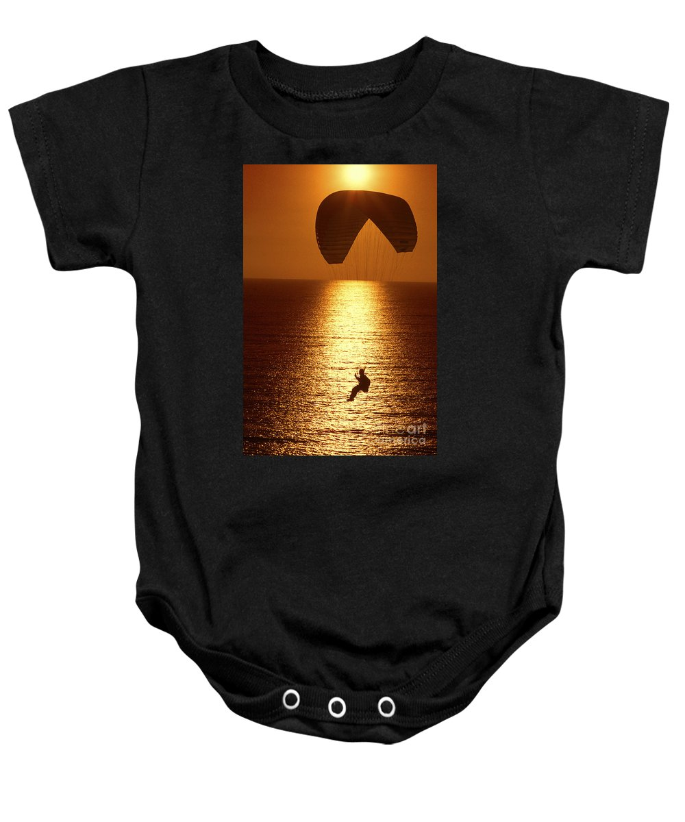 Sunset Baby Onesie featuring the photograph Sunset Flight by Paul W Faust - Impressions of Light
