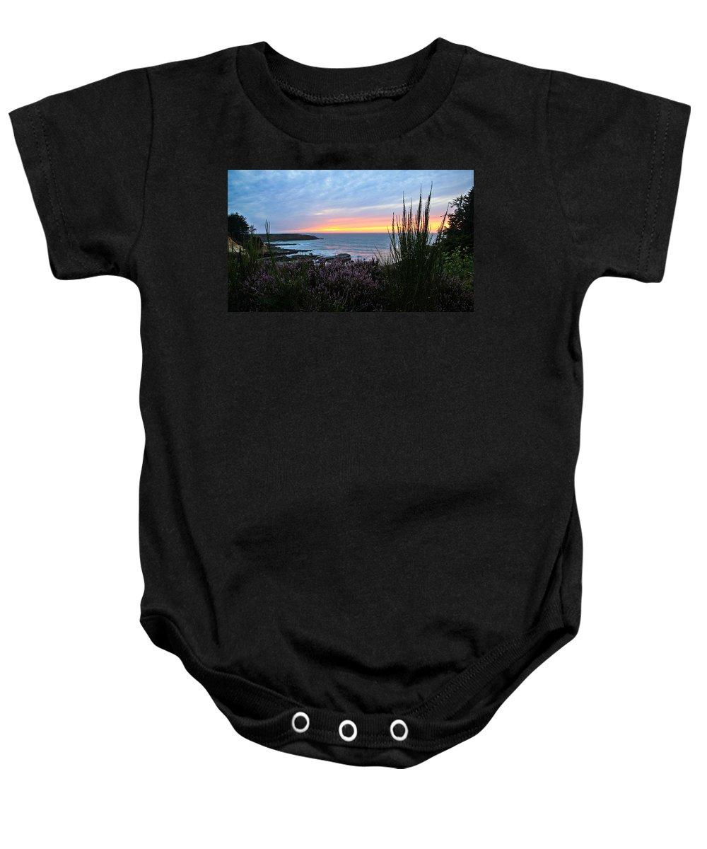 Sunset Baby Onesie featuring the photograph Sunset Garden View by Athena Mckinzie