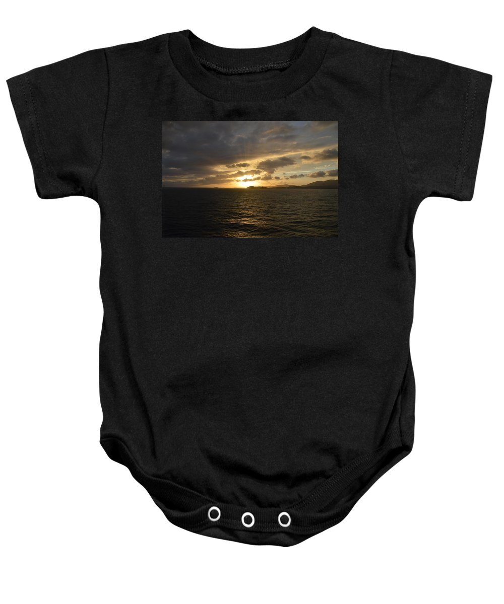 Caribbean Baby Onesie featuring the photograph Sunset In The Caribbean by Richard Booth