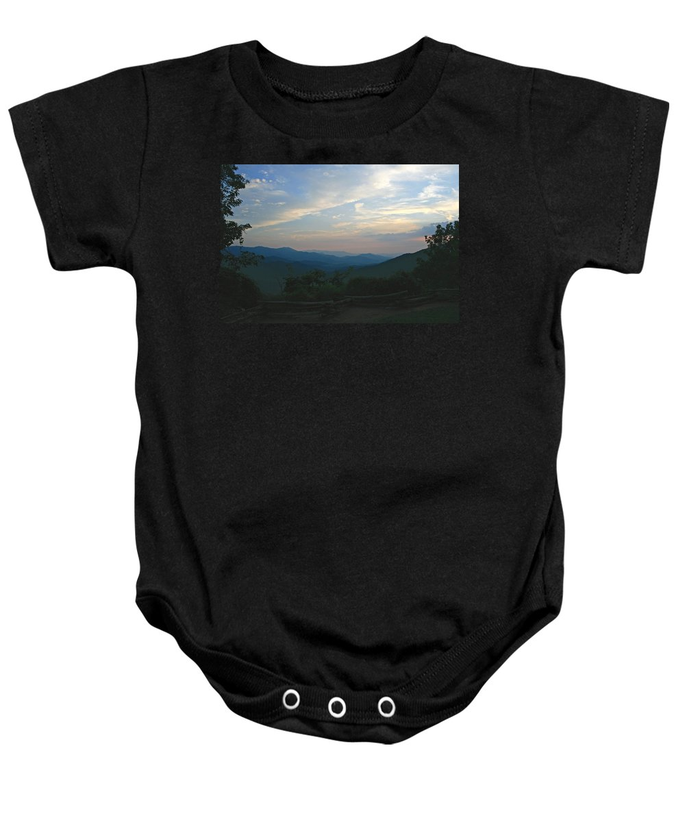 Sunset Baby Onesie featuring the photograph Sunset In The Mountans by Shirley Roberson
