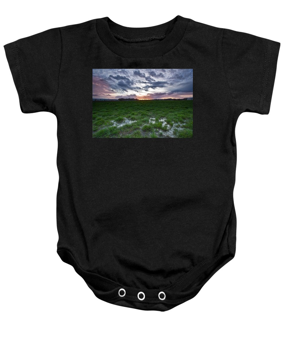 Swamp Baby Onesie featuring the photograph Sunset In The Swamp by Eti Reid