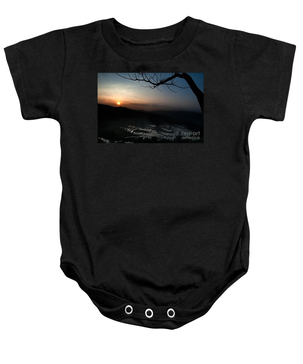 Agriculture Baby Onesie featuring the photograph Sunset by Kim Pin Tan