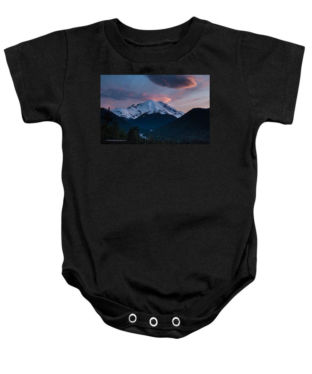 Rainier Baby Onesie featuring the photograph Sunset Mount Rainier by Mike Reid