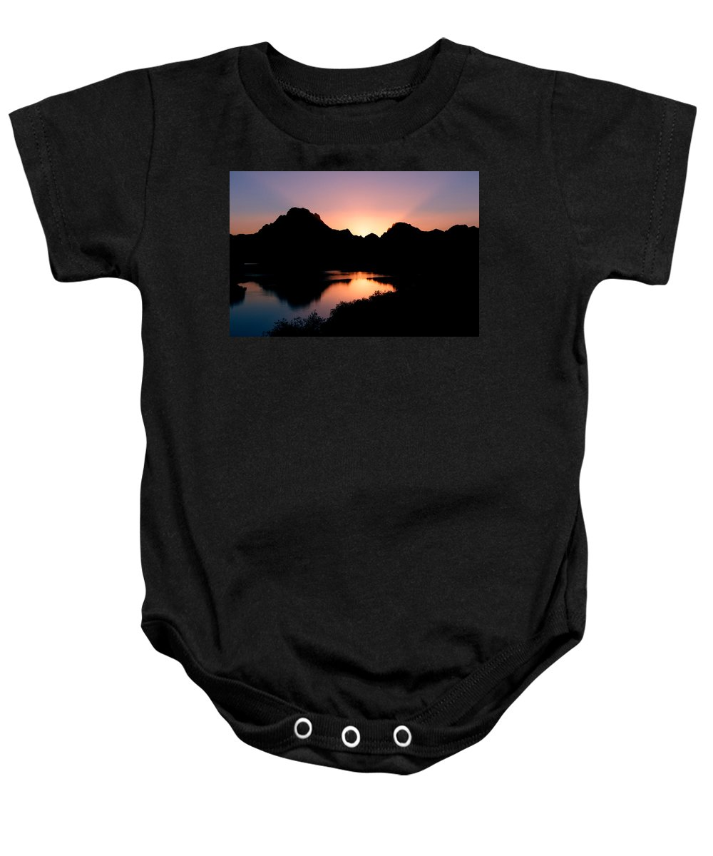 Sunset On The Oxbow Baby Onesie featuring the photograph Sunset On The Oxbow by Gary Langley