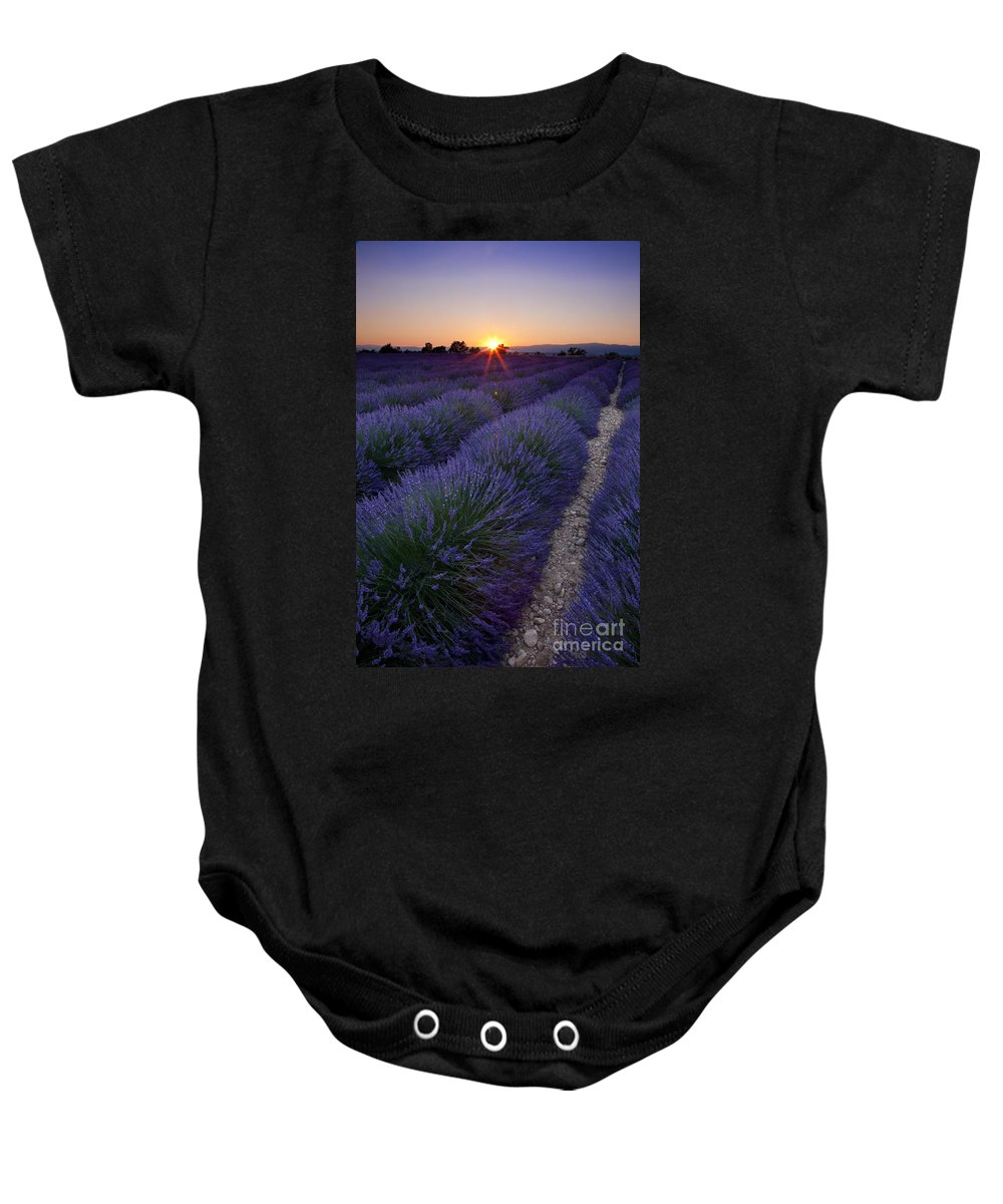 Lavender Baby Onesie featuring the photograph Sunset Over Lavender by Brian Jannsen