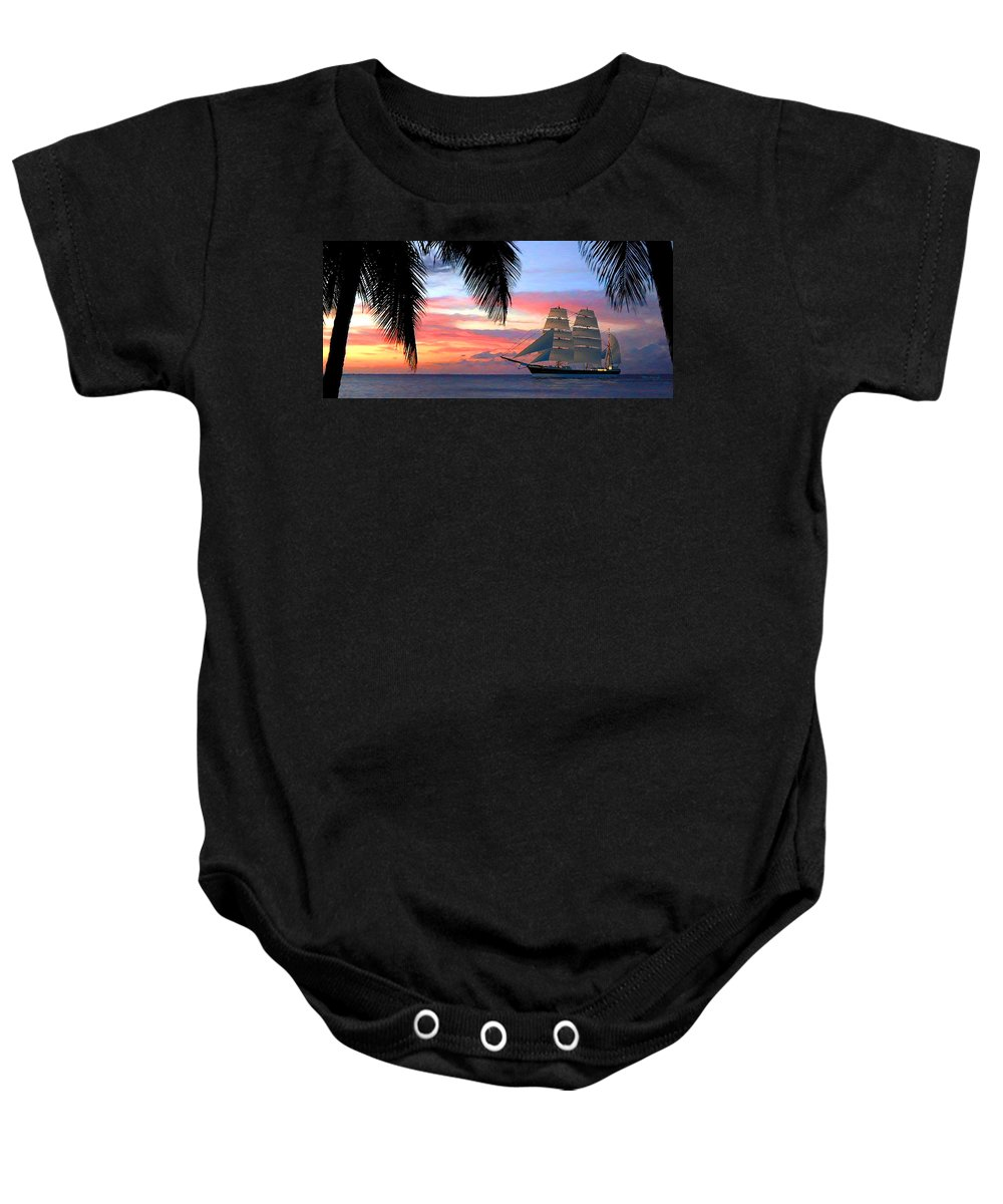 Duane Mccullough Baby Onesie featuring the digital art Sunset Sailboat Filtered by Duane McCullough